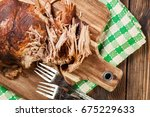 slow cooked pulled pork... | Shutterstock . vector #675229633
