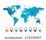 abstract world map with pin... | Shutterstock .eps vector #675234907