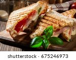 stack of panini with ham ... | Shutterstock . vector #675246973