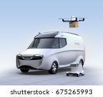 self driving van  drone and... | Shutterstock . vector #675265993