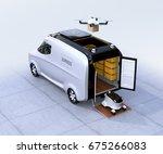 self driving van  drone and... | Shutterstock . vector #675266083