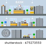bank interior horizontal banners | Shutterstock .eps vector #675273553