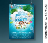 vector summer beach party flyer ... | Shutterstock .eps vector #675275023