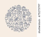 camping card with camp icons... | Shutterstock . vector #675275797