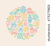 camping card with camp icons...   Shutterstock . vector #675275803