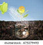 silver coins in a piggy bank... | Shutterstock . vector #675279493