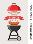 bbq or barbecue party... | Shutterstock . vector #675287023