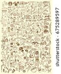hand drawn food elements. set... | Shutterstock .eps vector #675289597