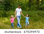 young father and his little... | Shutterstock . vector #675294973