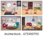 modern living room collection.... | Shutterstock .eps vector #675300793