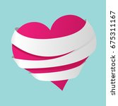 a drawing treated red heart.... | Shutterstock .eps vector #675311167