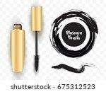 vector realistic gold mascara... | Shutterstock .eps vector #675312523