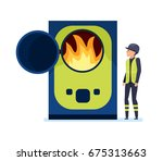 worker burns garbage in a... | Shutterstock .eps vector #675313663