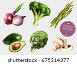 set of realistic vegetables... | Shutterstock .eps vector #675314377