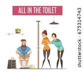 queue at toilet design concept... | Shutterstock .eps vector #675314743