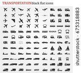 transportation icons vector | Shutterstock .eps vector #675318883