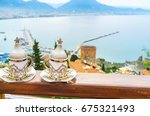 the old harbor of alanya and...   Shutterstock . vector #675321493
