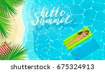 hello summer message on marine... | Shutterstock .eps vector #675324913