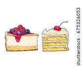 hand drawn desserts   pieces ... | Shutterstock .eps vector #675326053