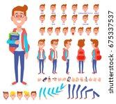 front  side  back view animated ... | Shutterstock .eps vector #675337537