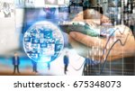 businessman working on virtual...   Shutterstock . vector #675348073
