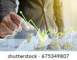 businessman putting money coins....   Shutterstock . vector #675349807