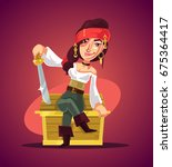 happy smiling woman pirate... | Shutterstock .eps vector #675364417