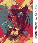 grunge tiger under leaves.... | Shutterstock .eps vector #675373417