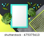 modern pastel coloured mock up... | Shutterstock . vector #675375613