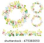 hand drawn vector floral wreath ...   Shutterstock .eps vector #675383053