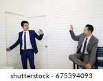the business man with suit say... | Shutterstock . vector #675394093