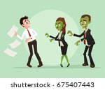 zombies office workers... | Shutterstock .eps vector #675407443