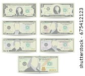 Stock vector dollars banknote set vector cartoon us currency front side of american money bill isolated 675412123