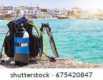 scuba diving equipment on a... | Shutterstock . vector #675420847