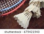 shuttlecocks with badminton... | Shutterstock . vector #675421543