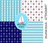 set of marine nautical seamless ... | Shutterstock .eps vector #675426847