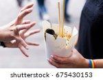 taking away wok box. chinese... | Shutterstock . vector #675430153
