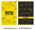 retro menu design with icons ... | Shutterstock .eps vector #675468313