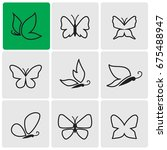 butterfly line icons | Shutterstock .eps vector #675488947
