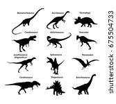 silhouettes of dinosaurs | Shutterstock .eps vector #675504733