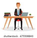 business man working with... | Shutterstock .eps vector #675508843