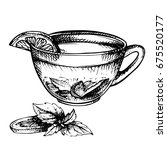 hand drawn sketch of tea. cup... | Shutterstock . vector #675520177