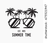 sunglasses with palms . summer... | Shutterstock .eps vector #675521947
