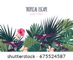 floral horizontal postcard... | Shutterstock .eps vector #675524587