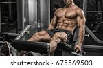 handsome man with big muscles ... | Shutterstock . vector #675569503