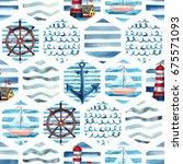 watercolor adventure seamless... | Shutterstock . vector #675571093