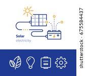 solar panels  sun energy ... | Shutterstock .eps vector #675584437