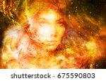 goddess woman in cosmic space.... | Shutterstock . vector #675590803