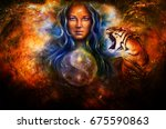 goddess woman and tiger and... | Shutterstock . vector #675590863