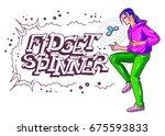 spinner game show of teenager.... | Shutterstock .eps vector #675593833